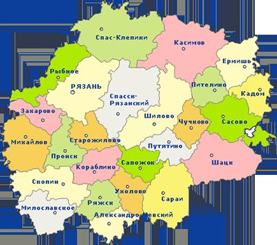 Карта Рязани и Рязанской области